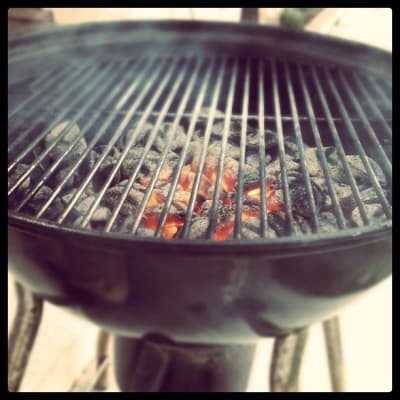 Grill with coal ready to cook