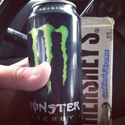 Can of Monster and Cookies and Cream Hershey's bar