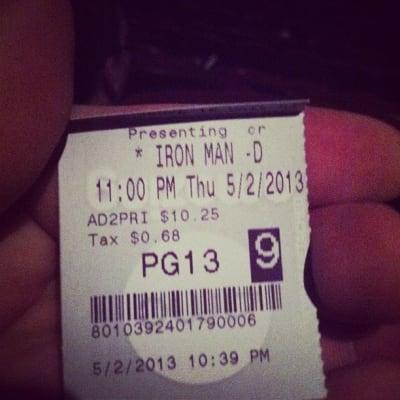 Ticket stub for Iron Man 3
