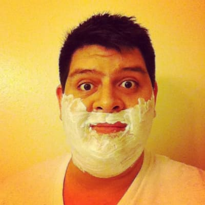 Me with shaving cream on my face