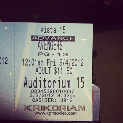 Ticket stub to watch 'The Avengers'