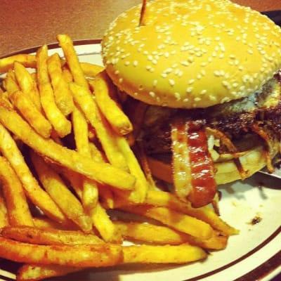 Burger and fries at Denny's