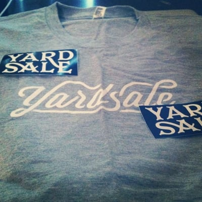 Yardsale t-shirt with two stickers