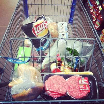 My grocery shopping cart full of food