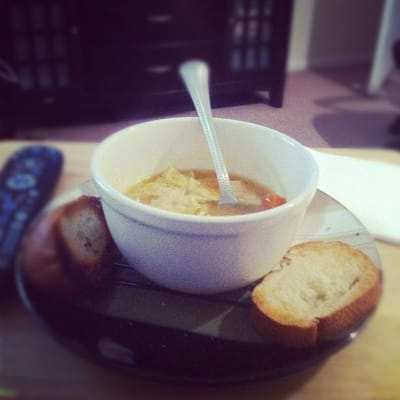 Soup with two slices of bread