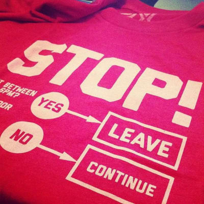 T-shirt with the Stop in bold letters