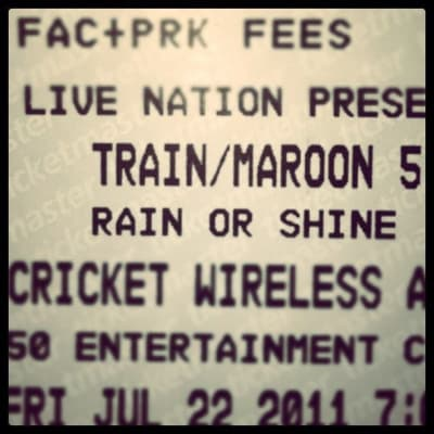 Ticket for the Maroon 5 concert