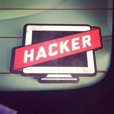 Hacker sticker on back window of my car