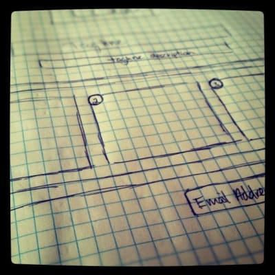 Wireframe sketch on grid paper