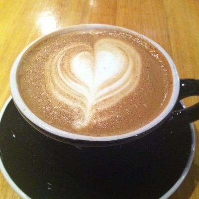 Coffee shaped latte art