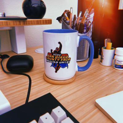 "Mug that says ""San Diego County Fair Heroes Unite"""