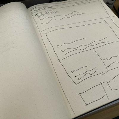 Wireframe sketch of my portfolio