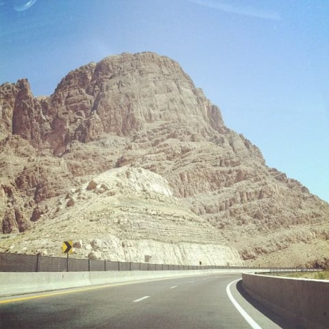 A cliff on the road from California