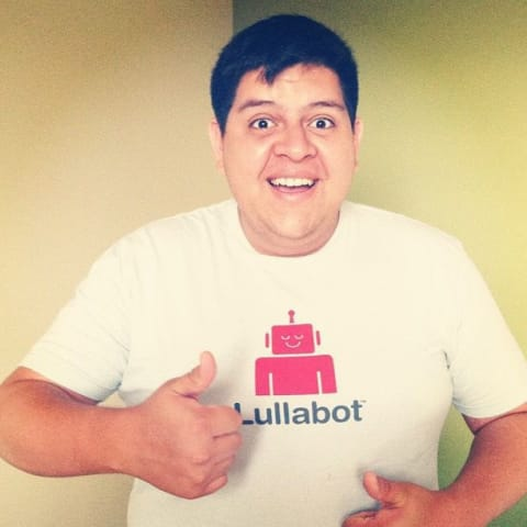 Me with my thumb up wearing my Lullabot shirt