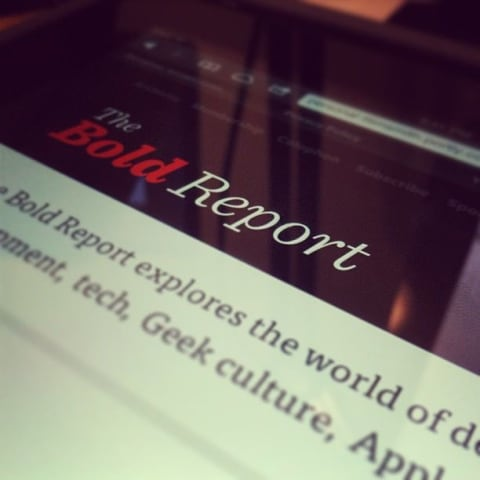 Preview of The Bold Report on my iPad