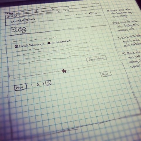 Wireframe sketch of webform