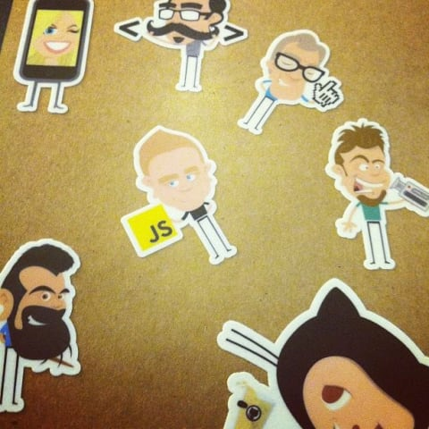 My notebook with Frontend Conf stickers