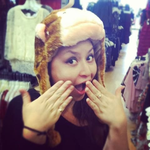Ani looking shocked with a monkey hat