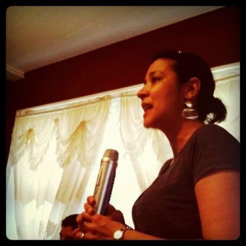 My aunt singing Karaoke
