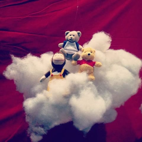 Stuffed animals on a cotton cloud