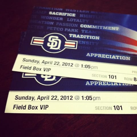 Ticket stub for Padres game