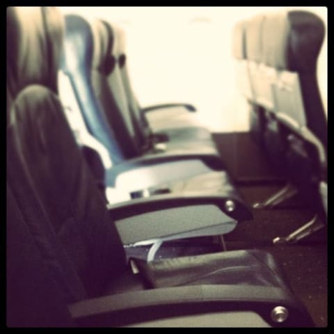 Empty seats on an airplane