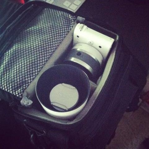 My Nikon camera and lens in a camera bag