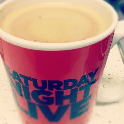 Coffee in my Saturday Night Live mug