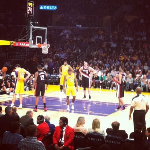 NBA players take their spots before a free throw