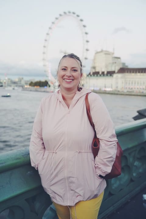 Kelly in front of the London Eye.