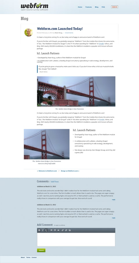 Webform blog layout