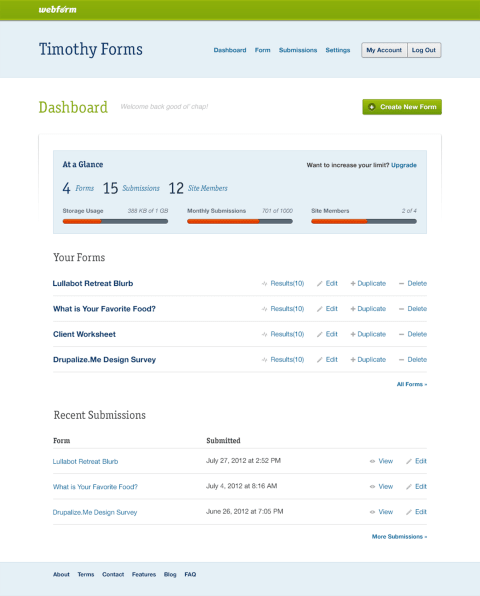 Webform dashboard