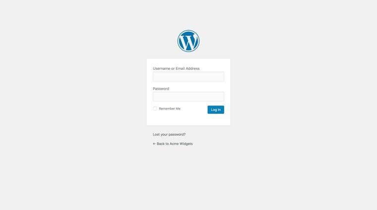 WordPress login form before