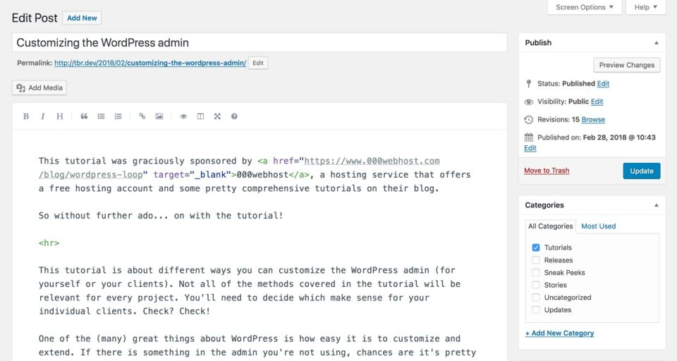 WordPress editor with markdown support