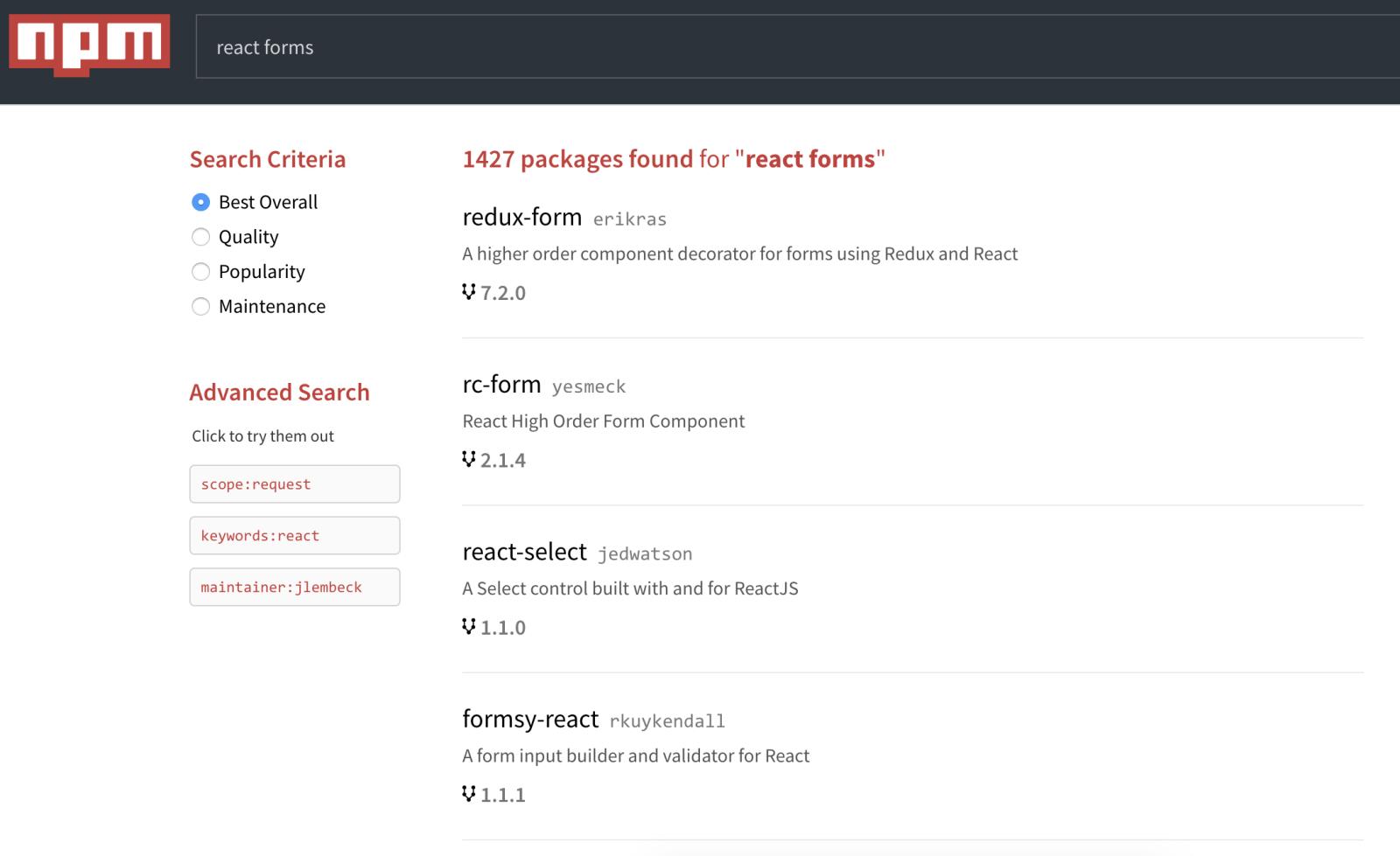 Recherche son package sur npm (react forms)
