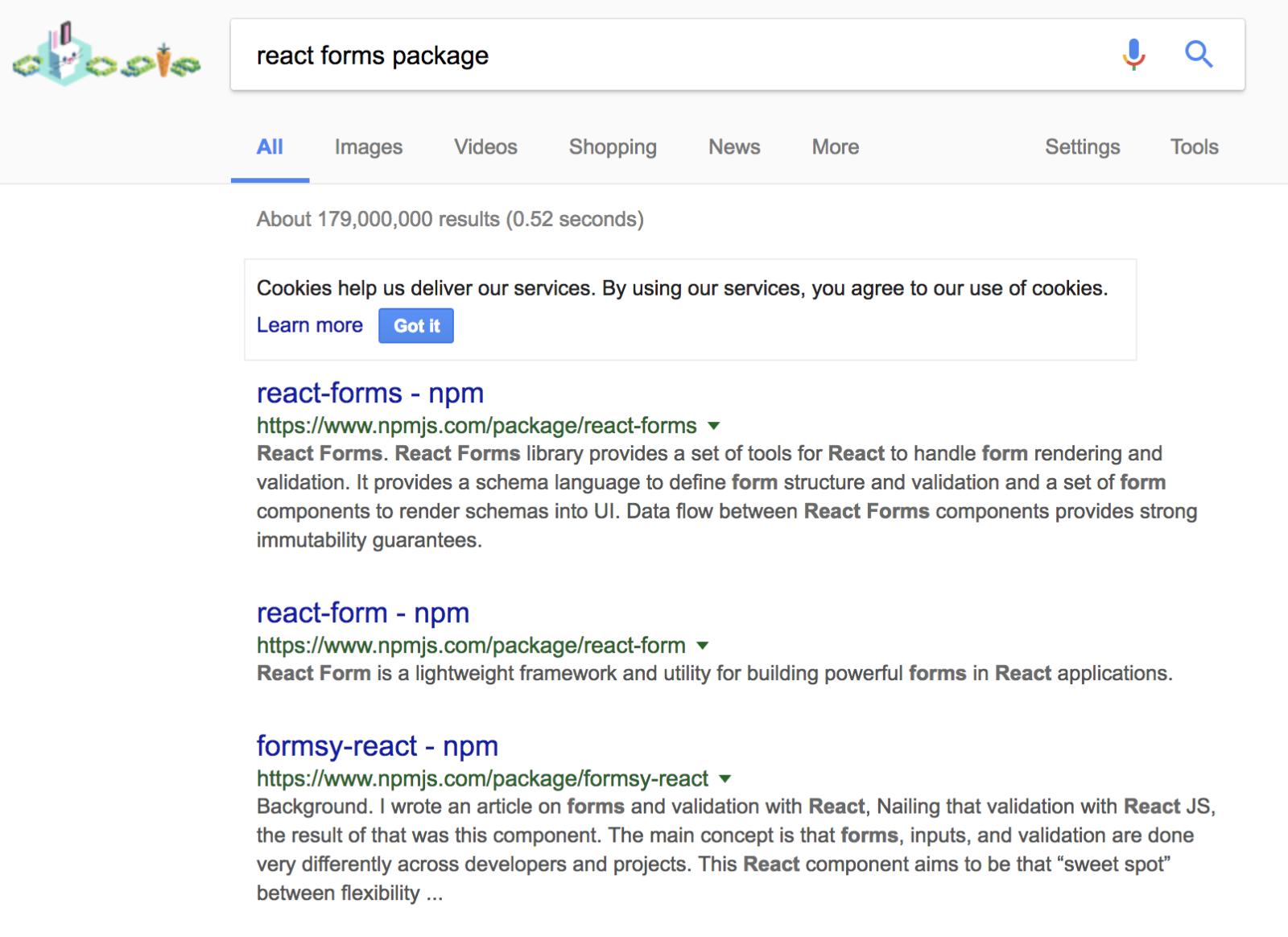 Rechercher son package npm sur Google en anglais