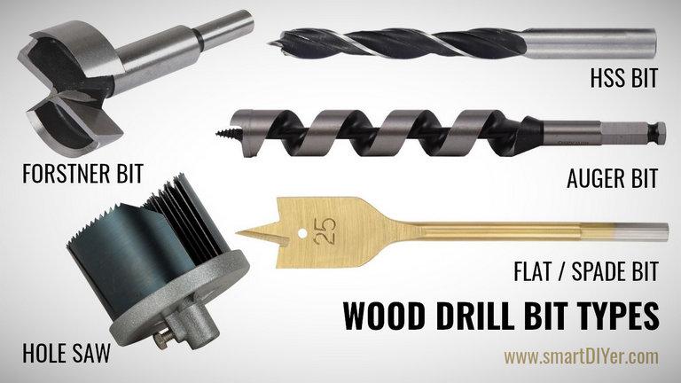 Types of Drill Bit for Wood, Spade Bit, Flat Bit, Wood Hole Saw, Forstner Bit, Auger Bit