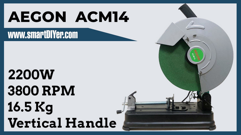 AEGON Acm14 14-Inch 2200-Watt 355mm Chop Saw Machine with Locking Chain for Cutting Metal, Steel Pipe, Tmt, Rebars, PVC Channels and Angles (2200 W, 3800 Rpm, 355 Mm)