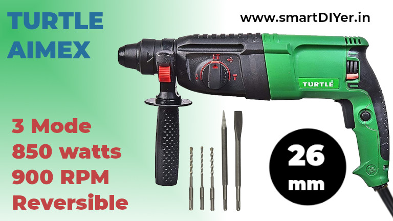 Aimex 26 mm Reversible Rotary Hammer with 5 Piece Drill bit-900W (26mm Drill with 13mm Chuck)