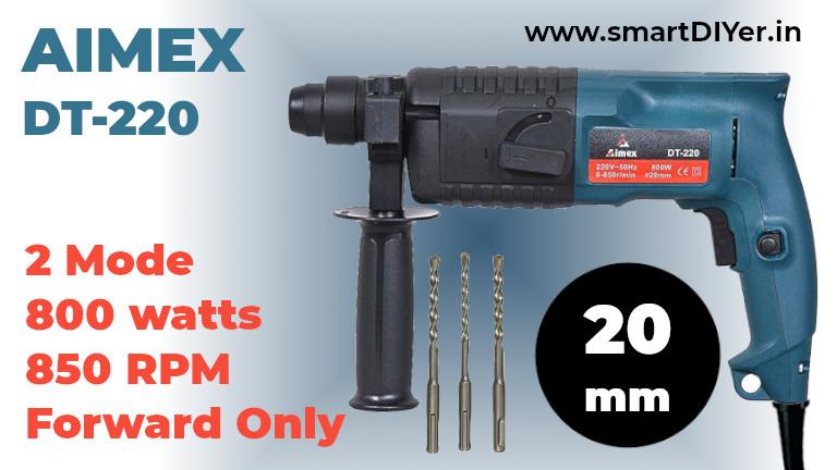 Aimex 20 mm Heavy Duty Rotary Hammer with 3 Piece Drill Bit - (800W)