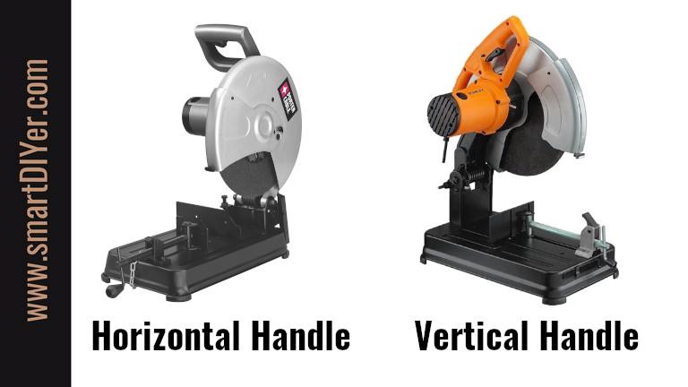 Chop Saw Handle Types, Horizontal Handle, Vertical Handle