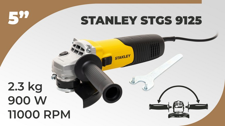 STANLEY STGS9125 900W,125mm Small Angle Grinder (Yellow and Black)
