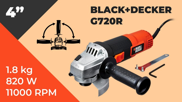 BLACK+DECKER G720 820W 4''/100mm Small Angle Grinder (Red & Black)