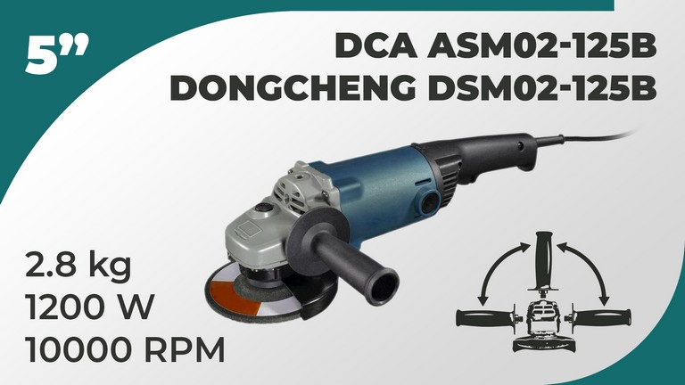 "DCA Dongcheng 5""inch Angle Grinder 1200w ASM02-125B DSM02-125B"