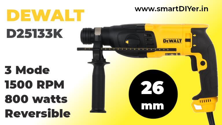 DEWALT D25133K 800W 26mm SDS-Plus 3 Mode 2Kg Combi Hammer - 2.9 J Impact Energy