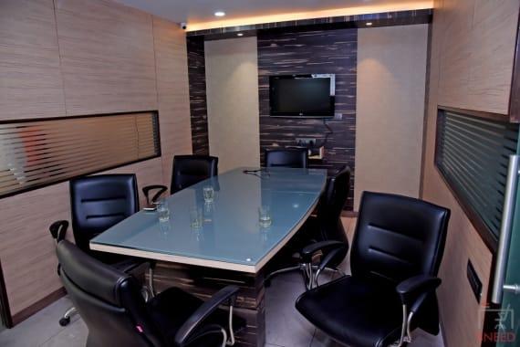 6 seaters Meeting Room Ahmedabad Vastrapur station27-coworking-hub