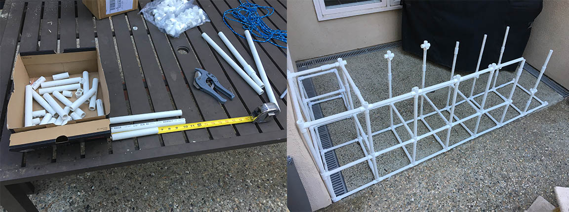 PVC Tube Catio with standard measurements - safe and easy to build! Great designs come with forethought.