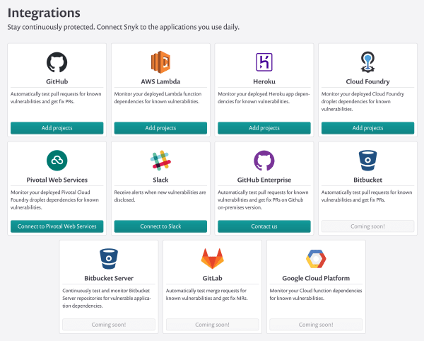 Screenshot of the Snyk Integrations page where you can choose with serverless platforms to monitor, including Cloud Foundry