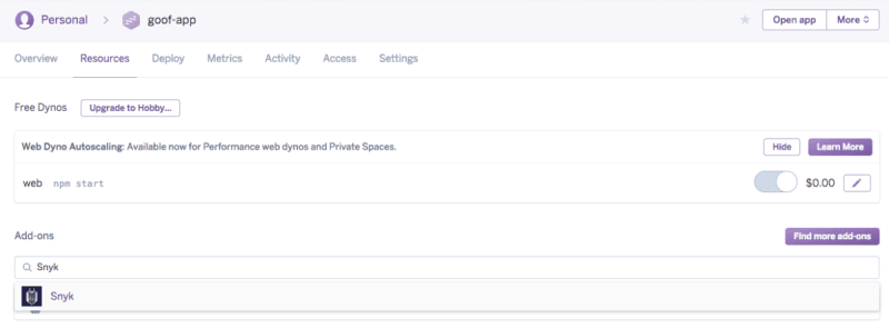 Screenshot of Heroku's Quick Add search bar used to find the Snyk Add-On