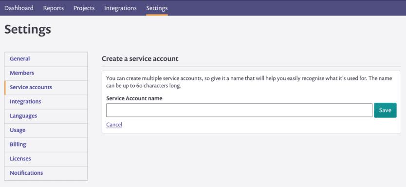 Screenshot of naming a service account
